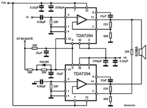 Rangkaian IC TDA7294 120 Watt Audio Power Amplifier Circuit